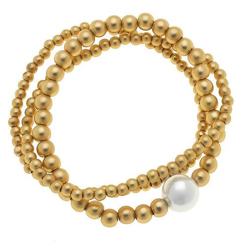 Juni Pearl Beaded Bracelets in Matte Gold (Set of 3)