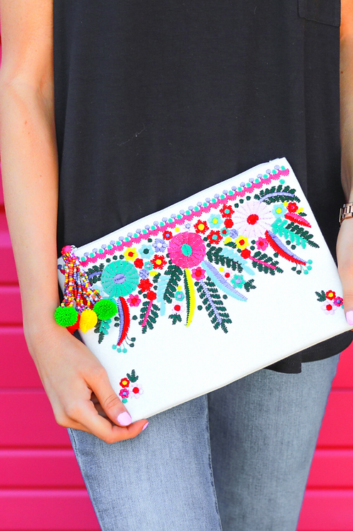 Cancun Is Calling Embroidered Clutch