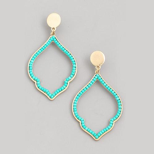 Beaded Quatrefoil Earrings in Turquoise