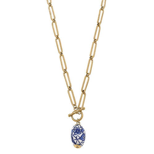 Evelyn Chinoiserie T-Bar Necklace in Blue & White