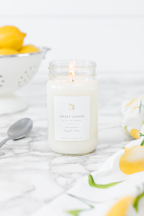 Sweet Lemon 16 oz. Candle by Antique Candle Co.