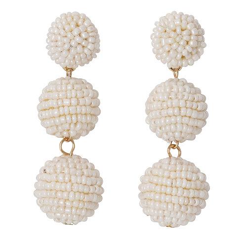 Seed Bead Ball Drop Earrings White
