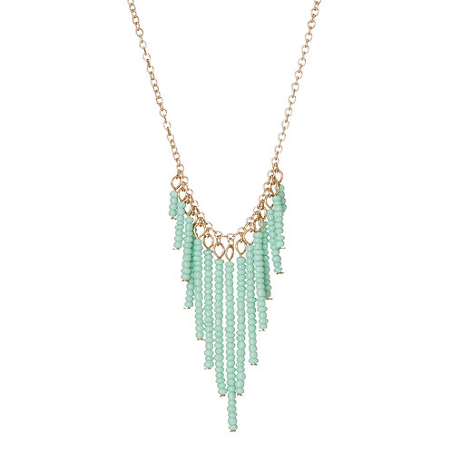 Seed Bead V-Drop Necklace Mint