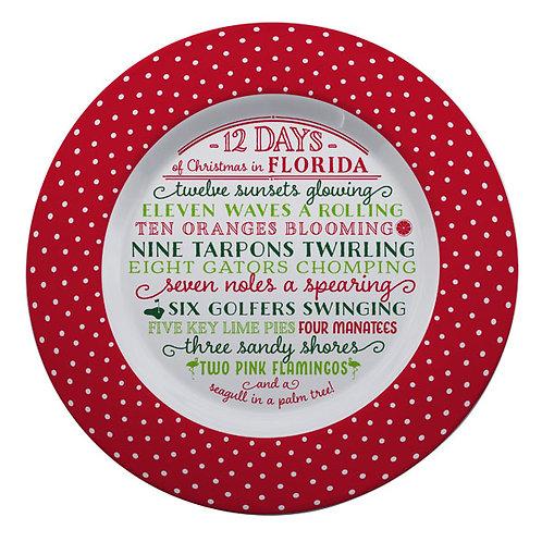 12 Days of Christmas in Florida Melamine Platter
