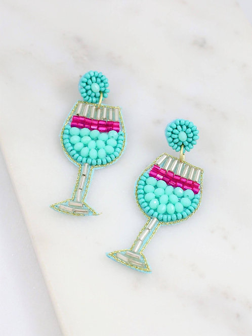 Sangria Cocktail Beaded Earring Aqua
