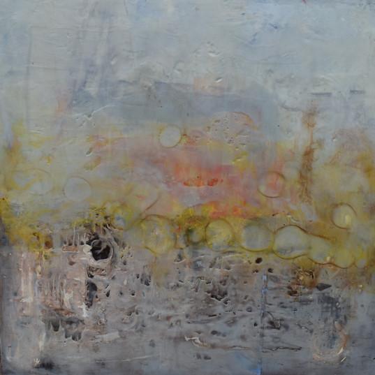 Landscape, 36_ x 36_, Encaustic on Panel
