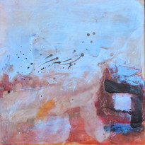 House in the Snow, 10_ x 10_, Enaustic W