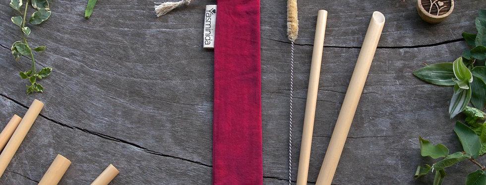 Bamboo Straw Set - Wine Red