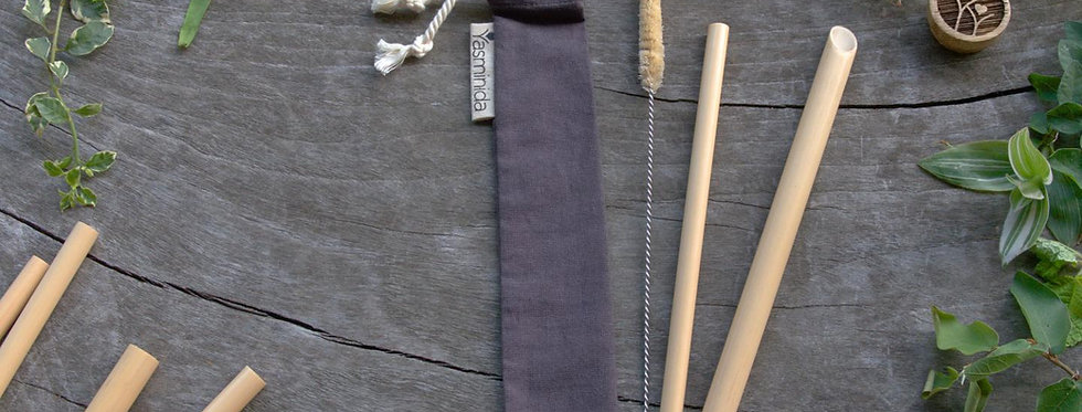 Bamboo Straw Set - Elephant Grey