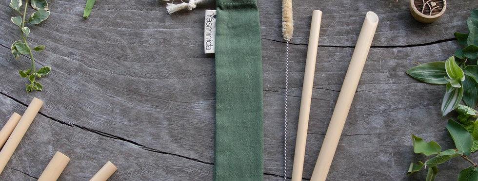 Bamboo Straw Set - Earthy Green