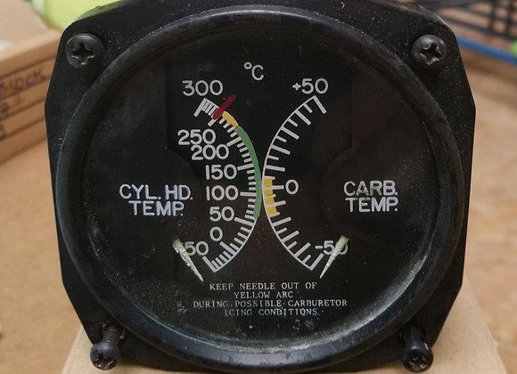 DUAL GAUGE Aircraft Instrument Cycl Temp-Carb Temp