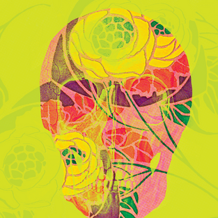 YELLOW FLORAL SKULL