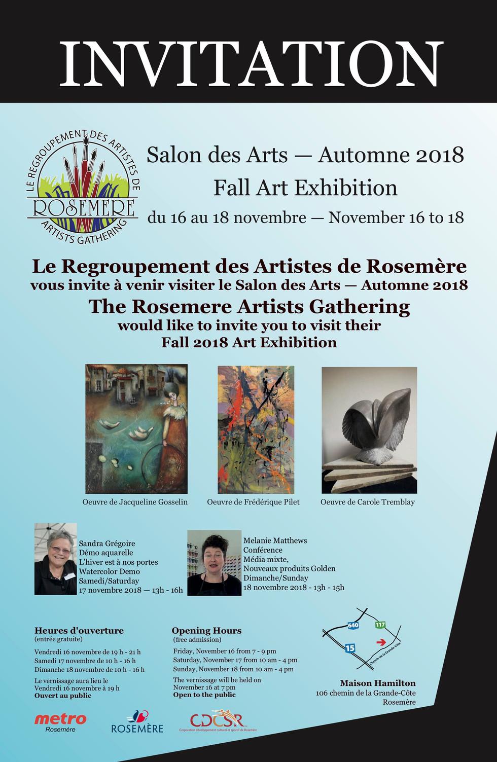 Affiche Salon des Arts Automne 2018