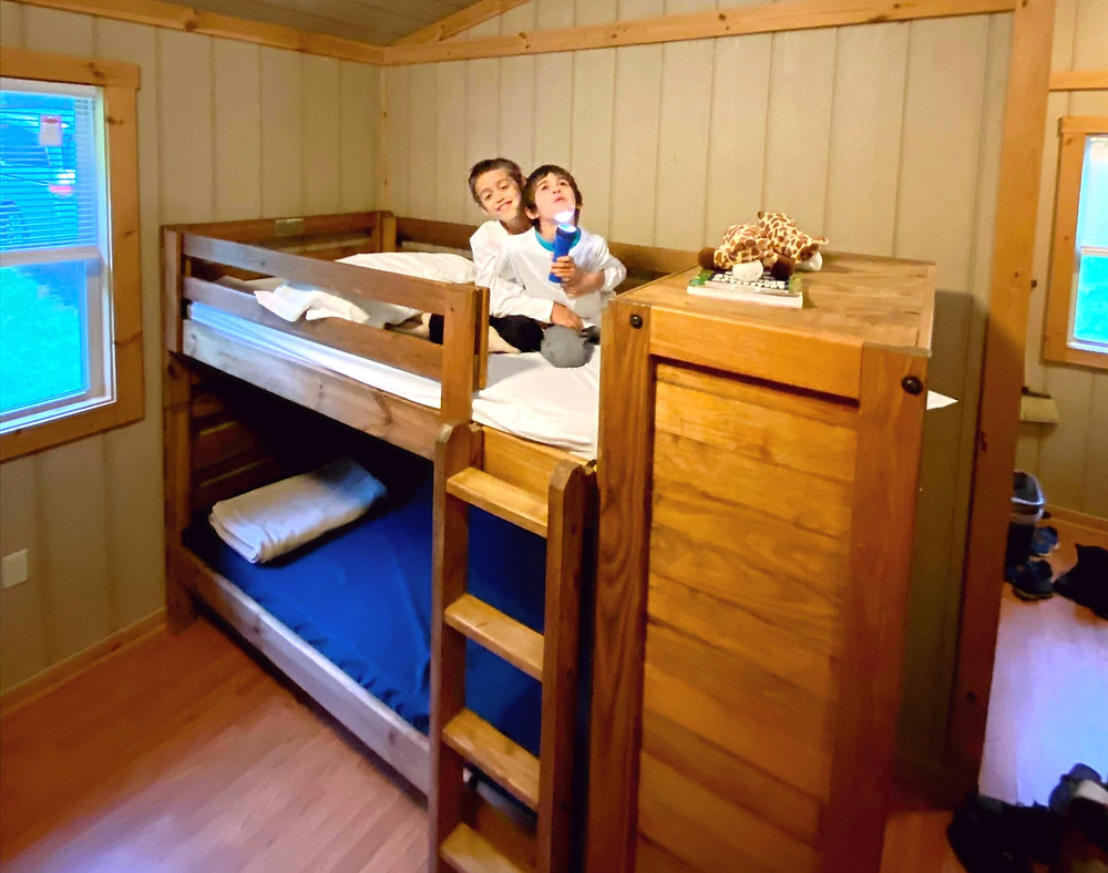 Two young, brown-haired boys hug each other on the top bunk in a wooden cabin.