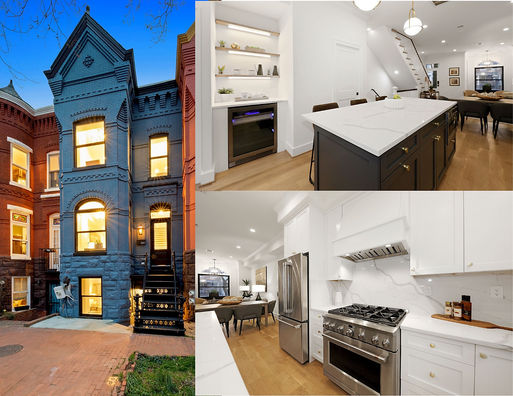 A collage of three photos including the exterior of a DC row home painted blue, a kitchen island with wine refridgerator, and the other wall of the kitchen with a stove and refrigerator.