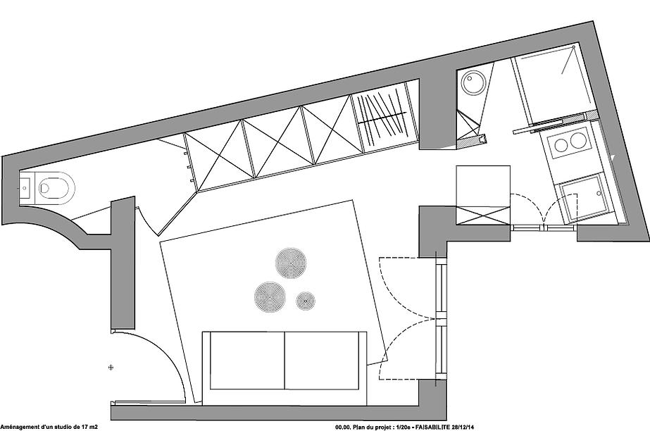 excellent interieure decoratio with plan amenagement studio 15m2. Black Bedroom Furniture Sets. Home Design Ideas