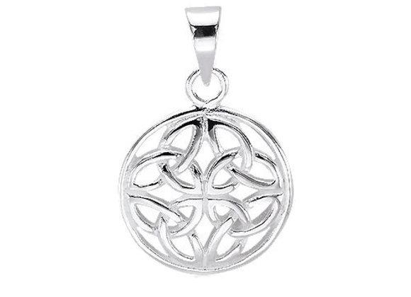 Celtic Round Triquetra Pendant - Sterling Silver
