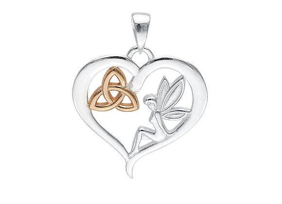 Celtic Fairy Triquetra Heart Pendant - Sterling Silver