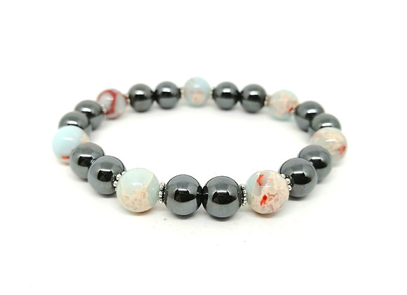 Hematite & Serpentine Gemstone Bead Bracelet