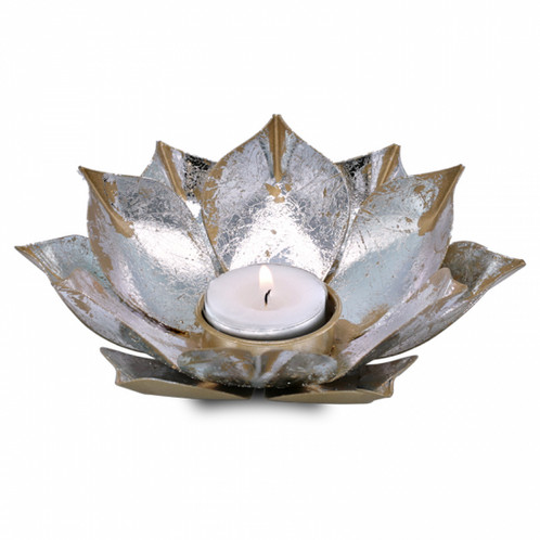 Lotus flower candle holder open lotus flower candleholder with golden and silver lotus leaves made from antique style metal size 15cm x 4 cm mightylinksfo