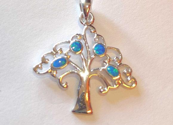Fire Opal Tree Pendant - Sterling Silver