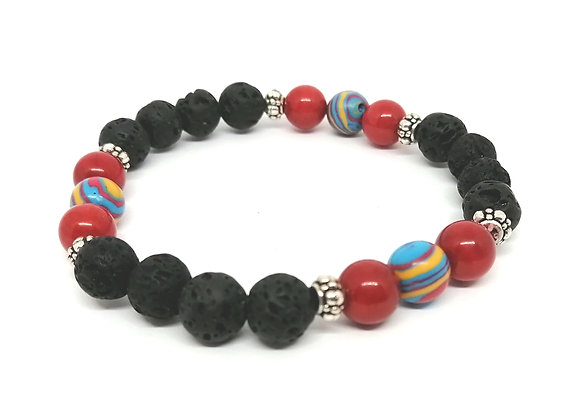 Rainbow Calsilica, Red Coral & Lava Gemstone Bead Bracelet