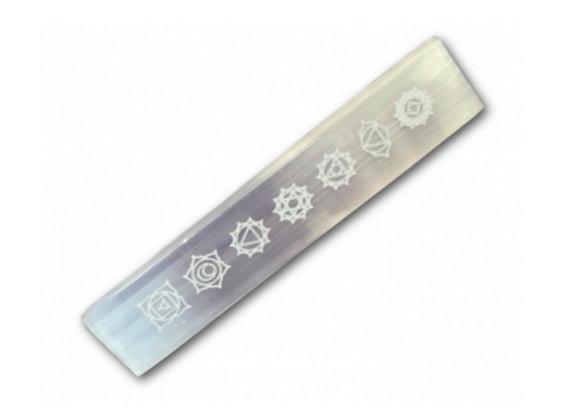 Chakra Engraved Selenite Flat Wand