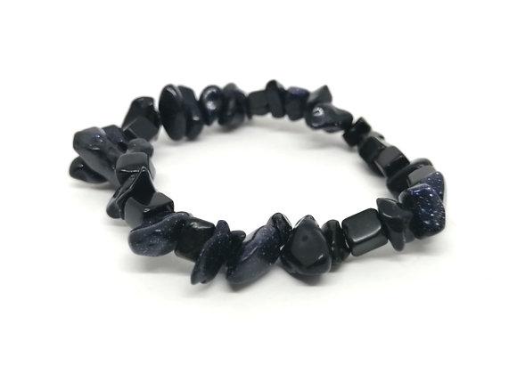 Blue Goldstone Gem Chip Bracelet