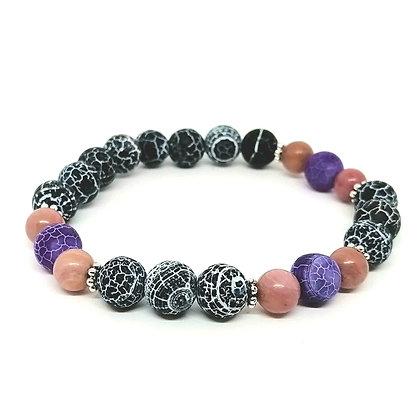 Black & Purple Frosted Agate & Rhodonite Bracelet