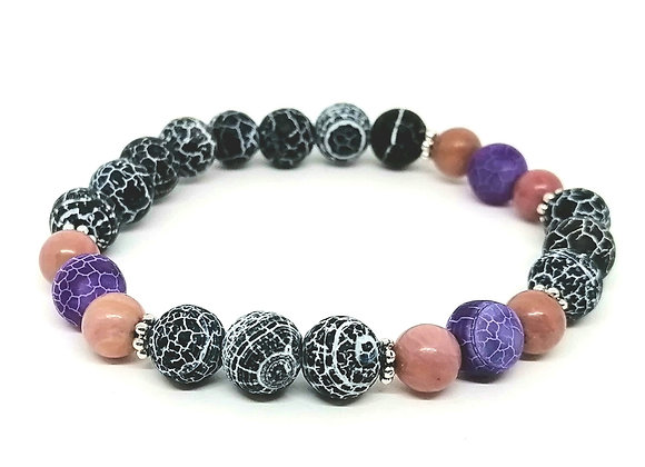 Black & Purple Frosted Agate & Rhodonite Bracelet