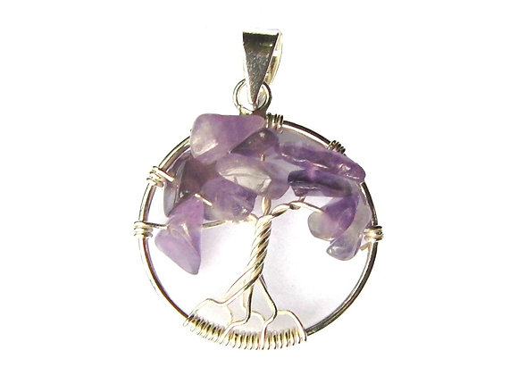 Amethyst Tree of Life Pendant - Sterling Silver
