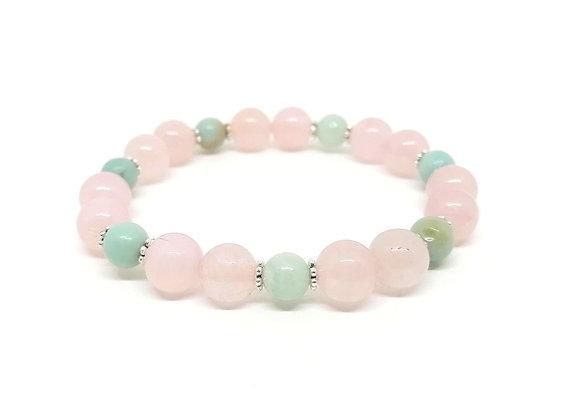 Rose Quartz & Amazonite Gemstone Bead Bracelet