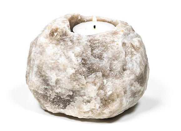 Grey Salt Tealight Holder