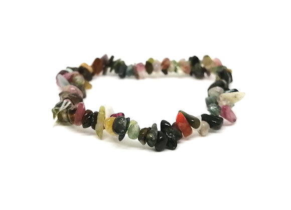 Watermelon Tourmaline Gem Chip Bracelet
