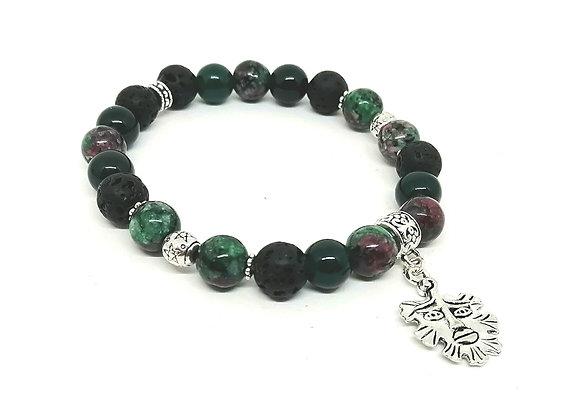 Ruby in Zoisite, Green Jade & Lava Gemstone Bead Bracelet