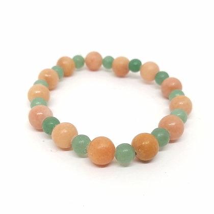 Pink & Green Aventurine Gemstone Bead Bracelet