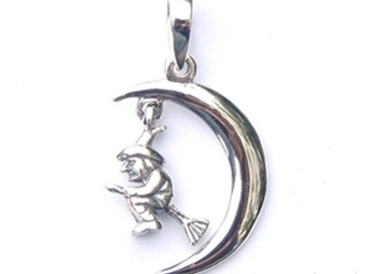 Witch on Moon Pendant