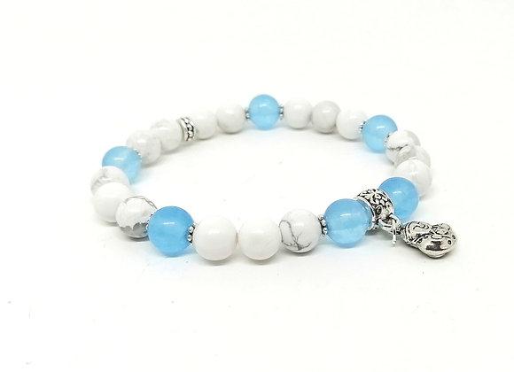 Howlite & Blue Chalcedony Gemstone Bead Bracelet