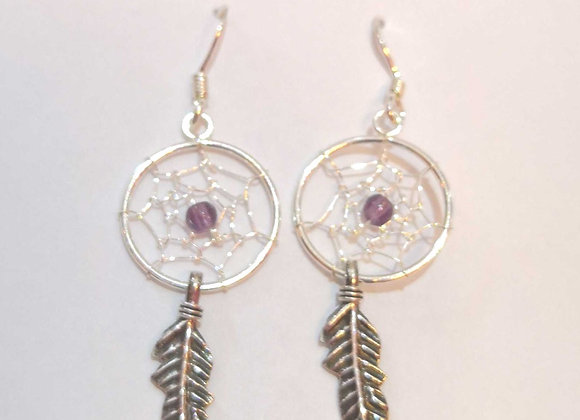 Amethyst Dreamcatcher Earrings