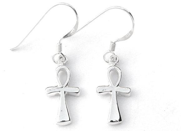 Ankh Earrings - Sterling Silver