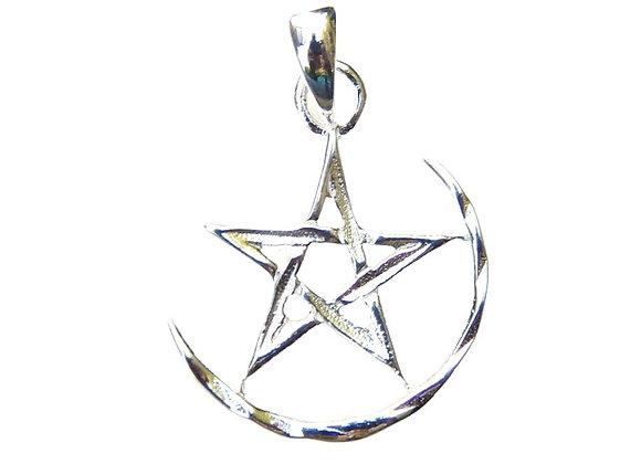 Crescent Moon & Pentagram Pendant