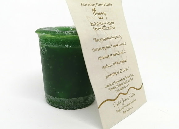 Money Votive Herbal Magic Candle