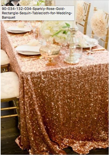 Rectangle Rose Gold Sequin Tableclot