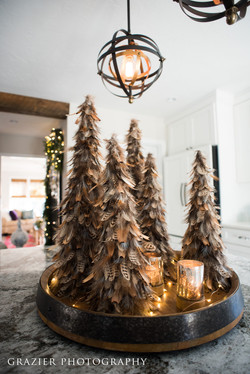 holiday decor, feather trees