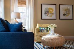 Blue & yellow living room design