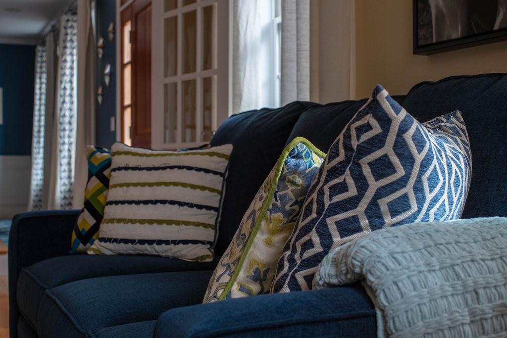 Blue, yellow & green pillows