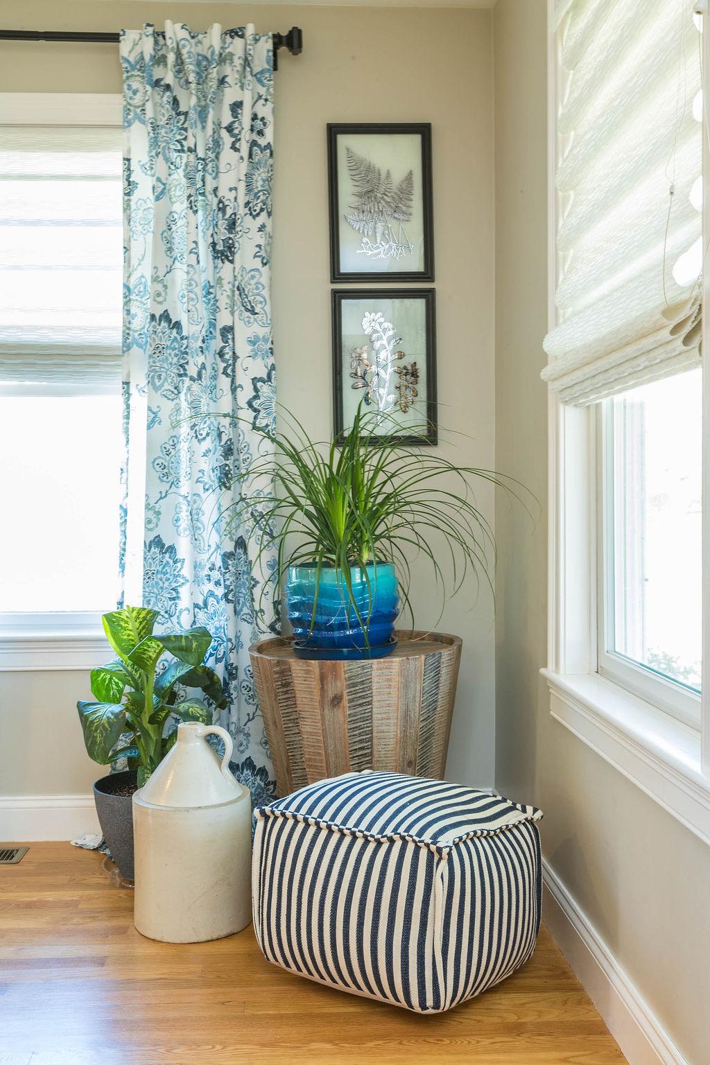 blue, white & tan living room