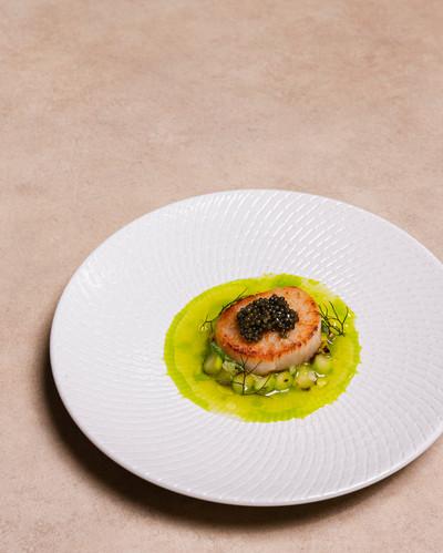 Scallops, Asparagus, Peas, Caviar