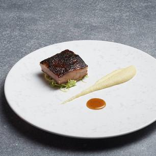Miso Glazed Pork Jowl and Pork Jus