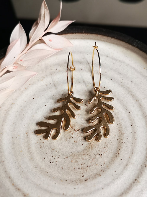 Gold plated coral earrings